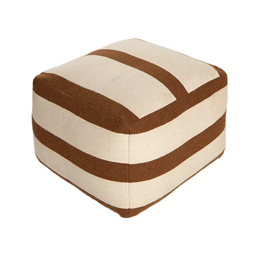 pouf brown offwhite wool
