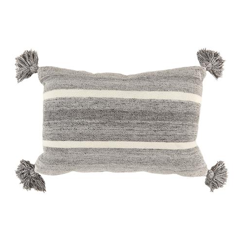 grey/white stripe wool cushion