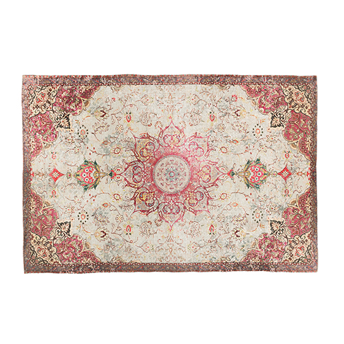 Pink cotton printed rug 200x300cm