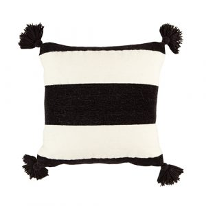 black/white stripe wool cushion