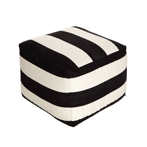 pouf black offwhite stripe wool