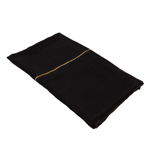 black organic cotton throw gold detail