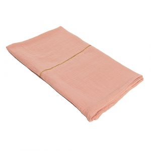 pink organic cotton throw gold detail